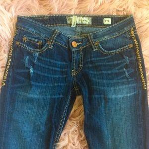 EUC BKE Jeans Starlite Detail Stitch Flare Jeans